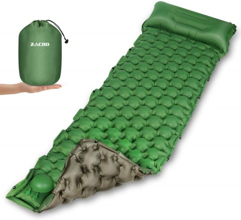 Zacro Camping Sleeping Pad - Self Inflatable Sleeping Mat with Pillow, Durable Waterproof Double-Sided Color Portable Sleeping Mat for Backpacking, Traveling, Hiking, Camping