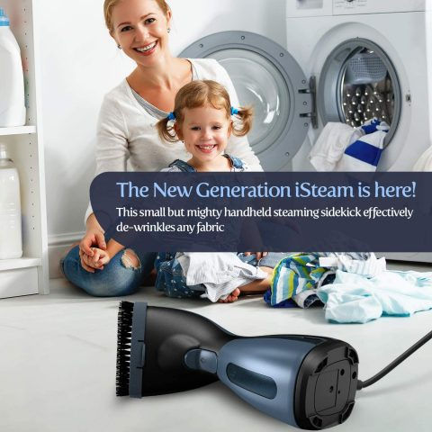 iSteam Steamer for Clothes [Luxury Edition] Powerful Dry Steam. Multi-Task Fabric Wrinkle Remover- Clean- Refresh. Handheld Clothing Accessory. for All Kind of Garments. HomeTravel [MS208 Blue]