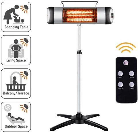 sundate Electric Outdoor Heater, Outdoor Patio Heater, Electric Infrared Space Heater Radiant Home Heater with Remote Control and 24-Hour Timer for IndoorOutdoor Use, Free Standing or Wall Mounted