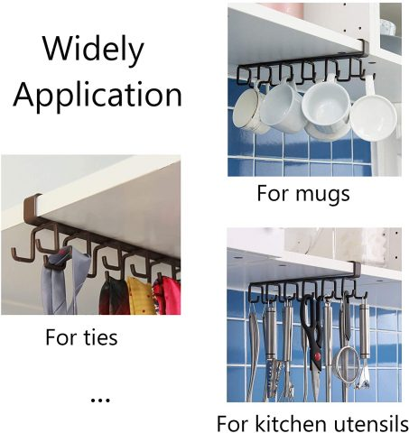 12-Hook Iron Under Cabinet Mug Hanger (Brown)