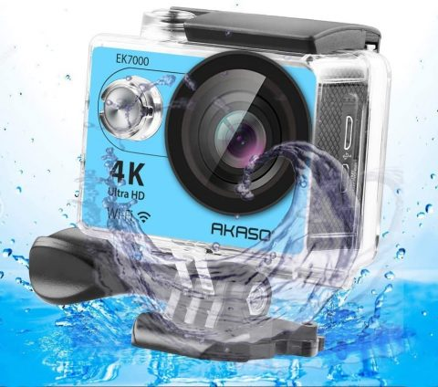 AKASO 4K Wi-Fi Sports Action Camera Ultra HD Waterproof DV Camcorder 12MP 170 Degree Wide Angle LCD ScreenRemote, Royal Blue (EK7000BL)