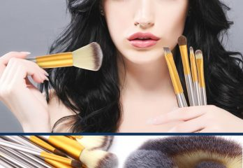 Ammiy Branded 18 Pcs Makeup Brush Set Professional Wood Handle Premium Synthetic Kabuki Foundation Blending Powder Eyeshadow Eyeliner Brush Tool with PU Leather Bag