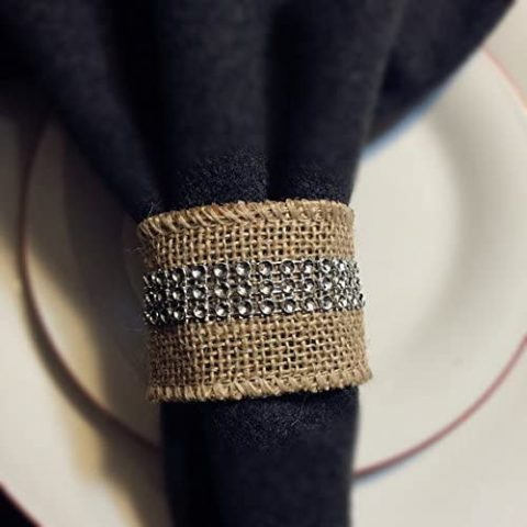 Angel Isabella 8pc Set of Burlap Napkin Ring with Bling