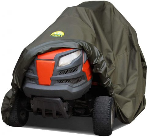 Family Accessories 100% Waterproof Riding Lawn Mower Cover, Heavy Duty Premium Water Resistant Garden Tractor Cover, Weatherproof Outdoor Storage for Ride On Lawnmower Engine, 72Lx44Wx43H