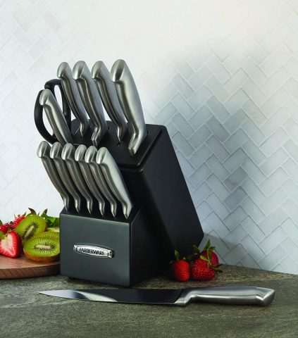 Farberware Self-Sharpening 13-Piece Knife Block Set with EdgeKeeper Technology, Black - 5191608