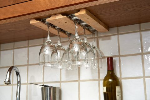 Fox Run Mounted Under-Cabinet Wooden Wine Glass Holder Rack, 11 x 7 x 0.75 inches, Brown