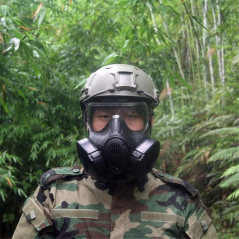 GZXX M50 Gas Mask,Protection Medium Masks,with Fan Mask,Airsoft Paintball Full Face Mask Tactical,Military Mask,cs Mask Black