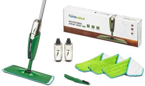 Homevative Household Microfiber Spray Mop Kit w 3 pads, 2 bottles, and Precision Detailer. Floor push mop for Wood, Laminate, Tile and more. No need for buckets or other supplies.
