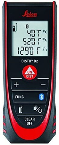 Leica DISTO D2 New 330ft Laser Distance Measure with Bluetooth 4.0, BlackRed