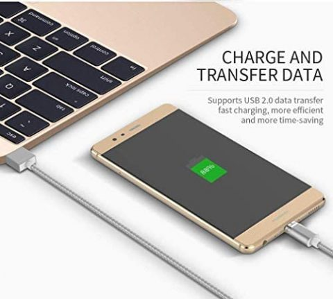 Magnetic USB Type C Super Fast Charging Cable 2 Pack , Amazing 7 Wsken Mini 2 Android Phone Charger Sync for Samsung Galaxy S9 S9+ S8 S8+ MacBook Huawei P20 P10 Mate 10 Nintendo Switch 3 .28 ft 2 Pack