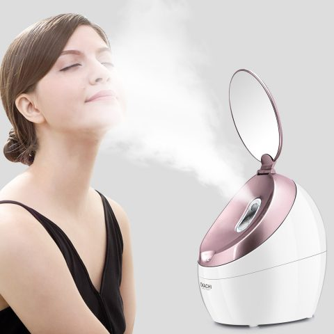 OKACHI GLIYA Facial Steamer Nano Hot Steam Face Spa Device Ionic Face Steaming Machine for Home Facials Personal Moisturizing Humidifier Vaporizer for Skincare Beauty (Rose Gold)