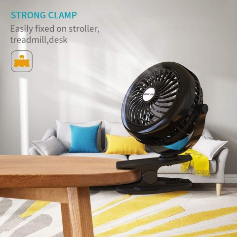 OPOLAR Battery Clip on Fan, Powered by USB or 2200mAh Rec,Best Quiet Table Fan for Kitchenle Battery, 360 Adjustable Wind, Personal Clip or Desk Fan with 3 Speeds, Multi Versatile for Hurricanes, Car, and Outdoor