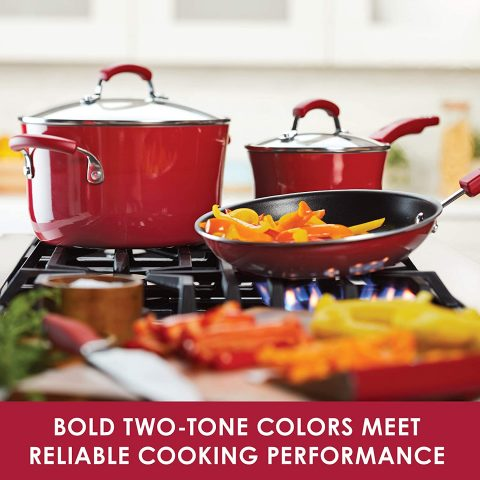 Rachael Ray 16223 Brights Nonstick Cookware Set Pots and Pans Set - 14 Piece, Red Gradient