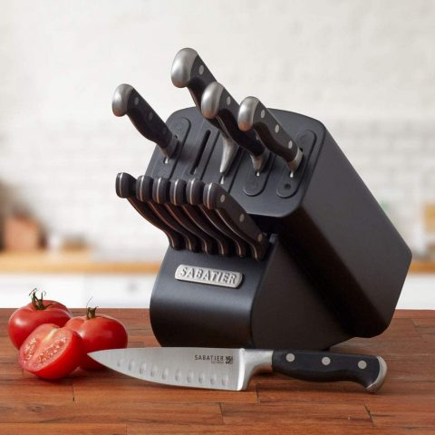 Sabatier Self-Sharpening Edgekeeper Pro 12-Piece Forged Triple Rivet Knife Block Set, Black - 5192297