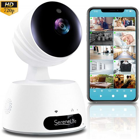 SereneLife Indoor Wireless IP Camera-HD 720p Network Security Surveillance Home Monitoring w Motion Detection, Night Vision,PTZ,2 Way Audio, iPhone Android Mobile App-PC WiFi Access- IPCAMHD30,White