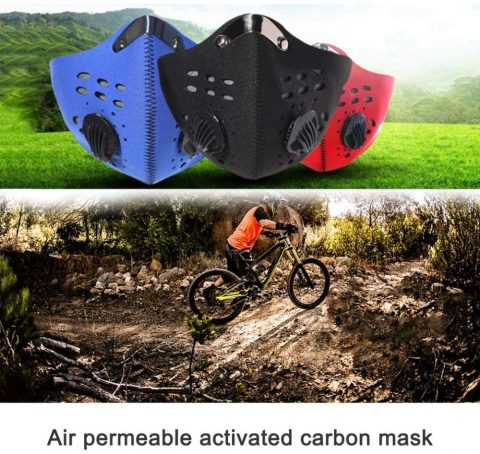 Symphonyw Dust Mask, Washable Reusable Anti Air Pollution Half Face Mouth Mask Adjustable PM2.5 Air Filter Mask Respirator (Black) (Black, M)