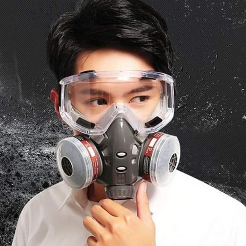 TX Household Gas Mask Half Face Covered Activated Carbon Filtration Firefighter Smoke Protection