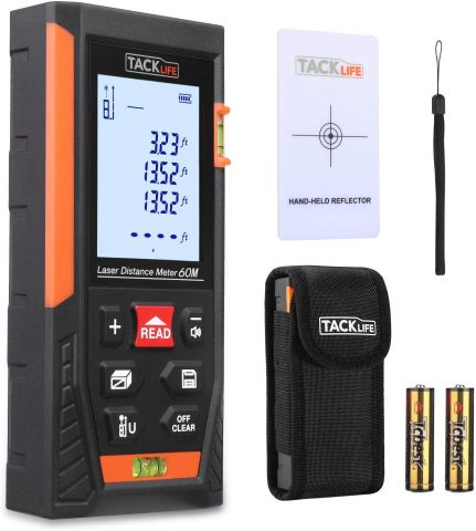 Tacklife HD60 Classic Laser Measure tool 196Ft MInFt Mute Laser Distance Meter with 2 Bubble Levels, Backlit LCD and Pythagorean Mode, Measure Distance, Area and Volume - Carry Pouch and Battery Included
