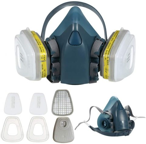 W&HH 7 in 1 Gas Mask, Industrial Chemical Gas Anti-Dust Spray Dual Cartridge Respirator, Paint Filter Mask