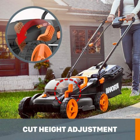 WORX WG779 40V Power Share 4.0 Ah 14 Lawn Mower w Mulching & Intellicut (2x20V Batteries)