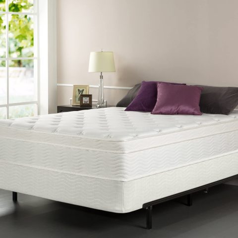 Zinus iCoil 13 Inch Euro Top Spring Mattress and BiFold Box Spring Set, Queen