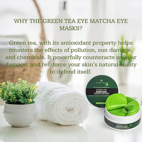 Green Tea Matcha Eye Mask by SUPRANCE - Under Eye Patches Treatment for Dark Circles, Eye Bags, Puffiness - Anti-Wrinkle With Hyaluronic Acid and Collagen