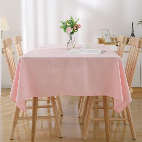 Deconovo Striped Rectangle Tablecloth 54 x 108 Inch Pink Wrinkle Resistant Table Cloth for Family Dinners Parties Hotels and More