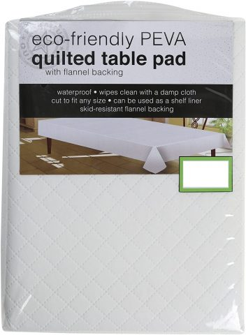 Sultan's Linens PEVA Quilted Table Pad with Flannel Backing, Waterproof, Skid Resistant
